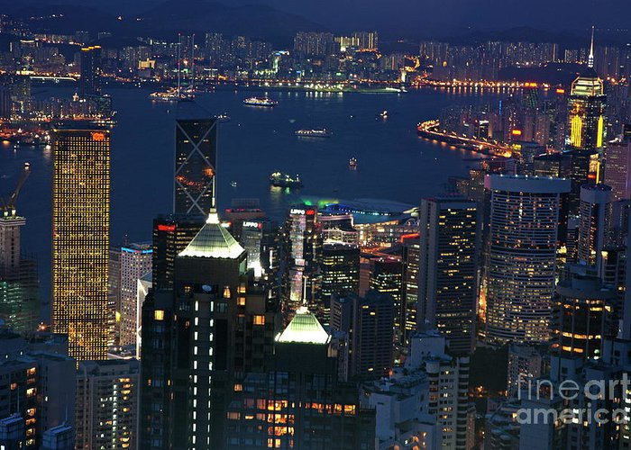 Asia Greeting Card featuring the photograph Kowloon Skyline And Victoria Harbour At Dusk by Sami Sarkis