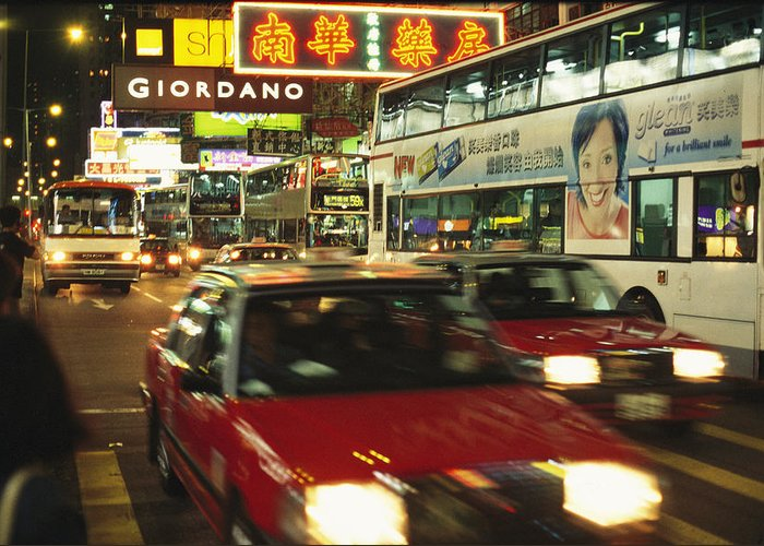 Asia Greeting Card featuring the photograph Kowloon Street Scene At Night With Neon by Justin Guariglia