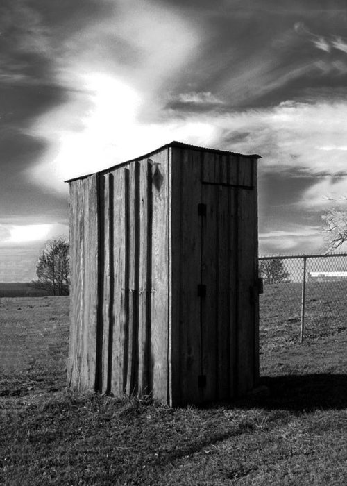 Ansel Adams Greeting Card featuring the photograph Koyl Cemetery Outhouse by Curtis J Neeley Jr