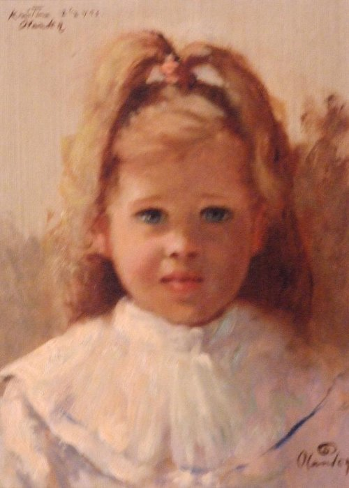 Portrait Of Innocence Greeting Card featuring the painting Kristina by David Olander