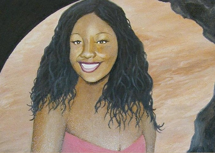Portrait Greeting Card featuring the painting Kristy Aphrodite Of Venus by Angelo Thomas