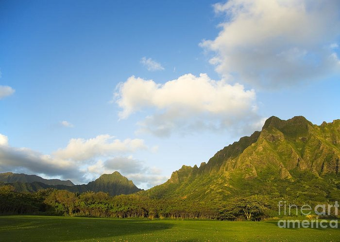 Bright Greeting Card featuring the photograph Kualoa Ranch by Dana Edmunds - Printscapes
