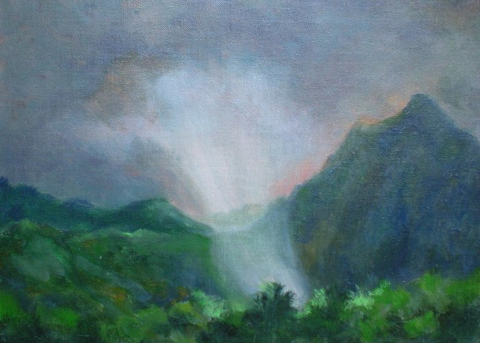 Landscape Greeting Card featuring the painting Kualoa Ranch Light Show by Bryan Alexander
