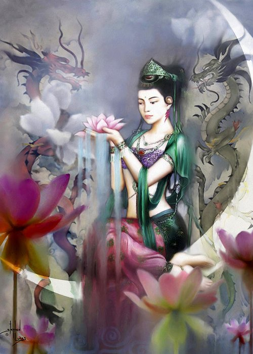 Spiritual Greeting Card featuring the digital art Kuan Yin Lotus Of Healing by Stephen Lucas