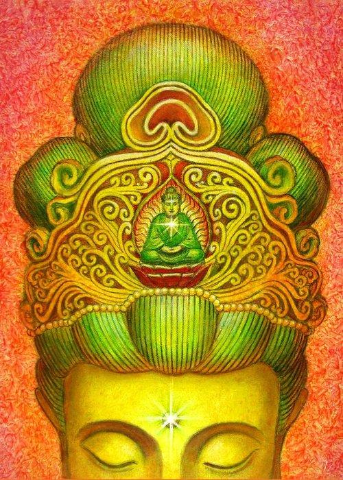 Kuan Yin Greeting Card featuring the painting Kuan Yin's Buddha Crown by Sue Halstenberg