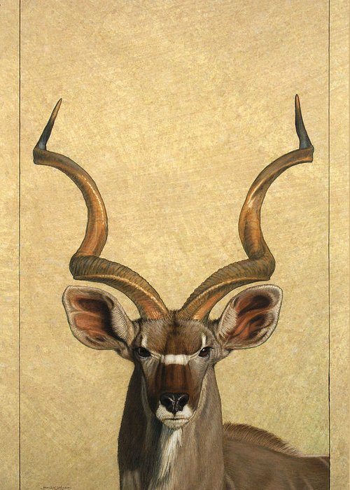 Kudu Greeting Card featuring the painting Kudu by James W Johnson
