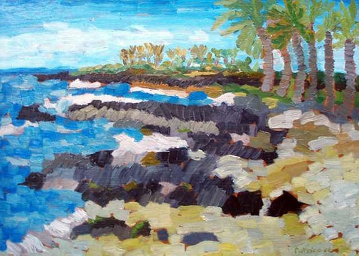 Impressionistic Greeting Card featuring the painting Kukio South by Patrice Tullai