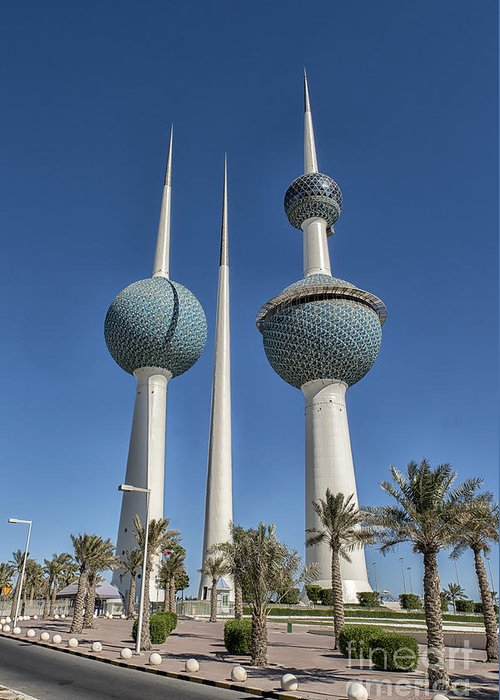 Modern City Greeting Card featuring the photograph Kuwait Towers In Kuwait City, Kuwait by Ivan Batinic
