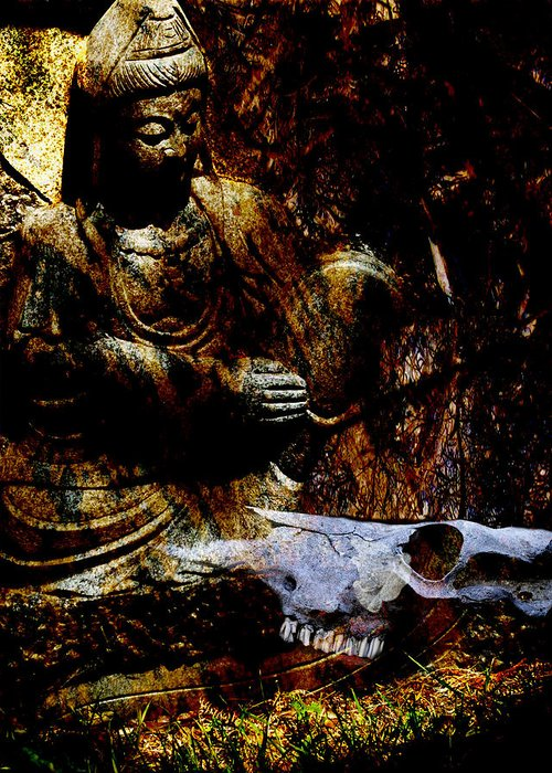 Kwan Yin Greeting Card featuring the mixed media Kwan Yin Meditates by Ann Tracy