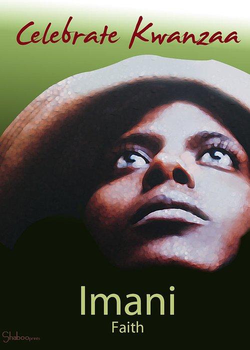 African Greeting Card featuring the digital art Kwanzaa Imani by Shaboo Prints