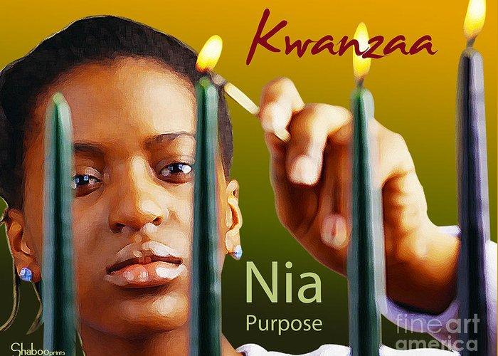 Kwanzaa Greeting Card featuring the digital art Kwanzaa Nia by Shaboo Prints