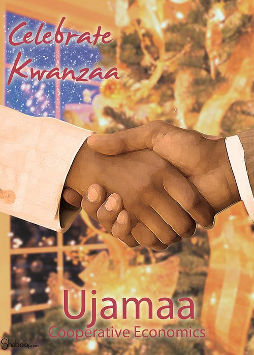 Kwanzaa Greeting Card featuring the digital art Kwanzaa Ujamaa by Shaboo Prints
