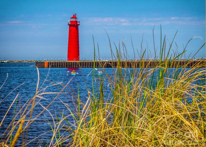 Great Lakes Greeting Card featuring the photograph Kyaks By Muskegon Light by Nick Zelinsky