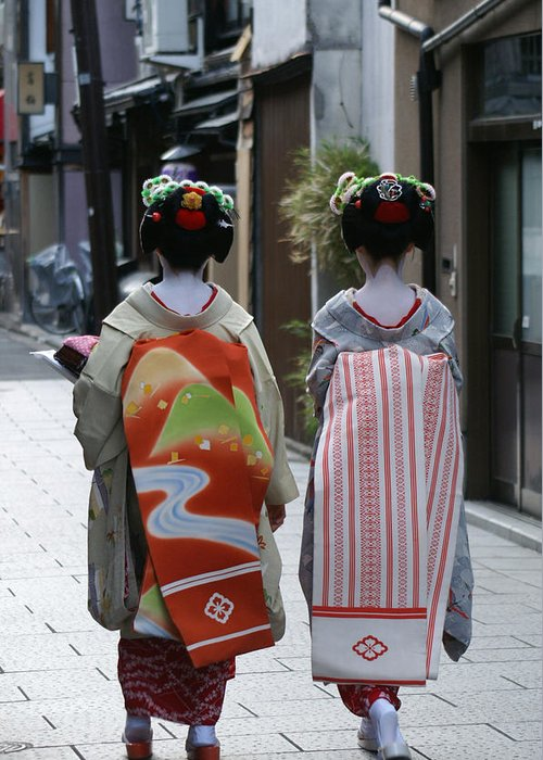 Kyoto Greeting Card featuring the photograph Kyoto Geishas by Jessica Rose