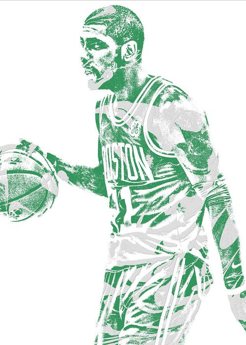 Kyrie Irving Greeting Card featuring the mixed media Kyrie Irving Boston Celtics Pixel Art 40 by Joe Hamilton