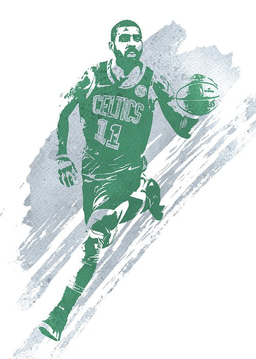 Kyrie Irving Greeting Card featuring the mixed media Kyrie Irving Boston Celtics Water Color Art 4 by Joe Hamilton