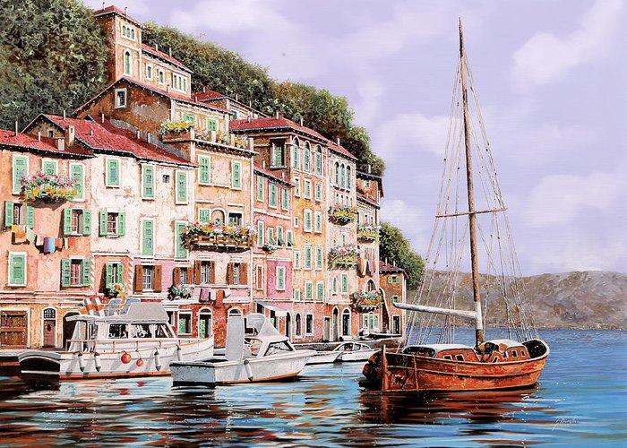 Landscape Greeting Card featuring the painting La Barca Rossa Alla Calata by Guido Borelli