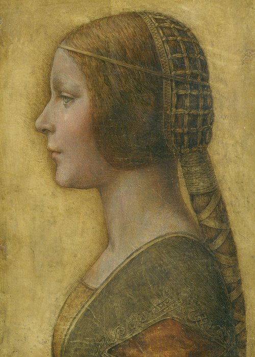 La Bella Principessa Greeting Card featuring the drawing La Bella Principessa - 15th Century by Leonardo da Vinci