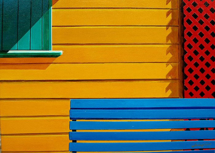 Architecture Greeting Card featuring the painting La Boca Street Scene 33 by JoeRay Kelley