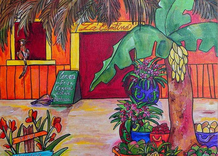 Mexico Greeting Card featuring the painting La Cantina by Patti Schermerhorn