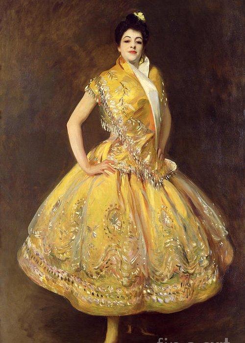 La Carmencita Greeting Card featuring the painting La Carmencita by John Singer Sargent