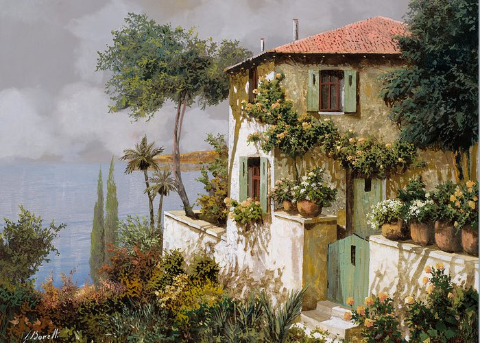Llandscape Greeting Card featuring the painting La Casa Giallo-verde by Guido Borelli