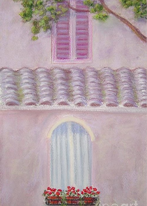 Window Boxes Greeting Card featuring the painting La Casa Rosa Lunga Il Treve by Mary Erbert