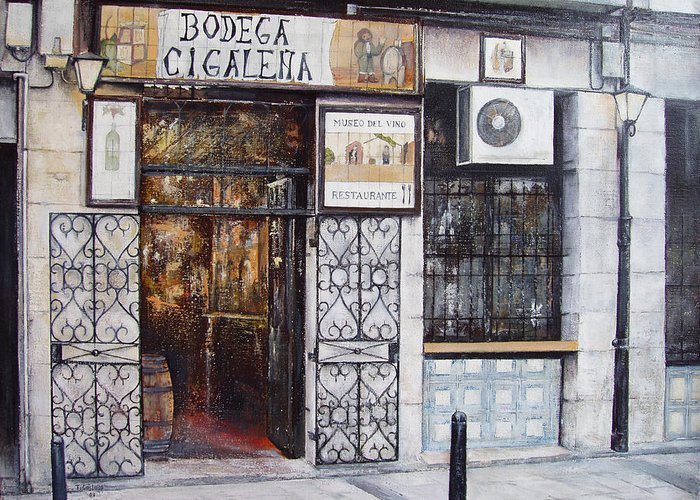 Bodega Greeting Card featuring the painting La Cigalena Old Restaurant by Tomas Castano