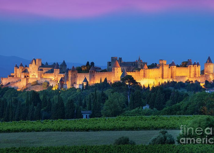 Architecture Greeting Card featuring the photograph La Cite Carcassonne by Brian Jannsen