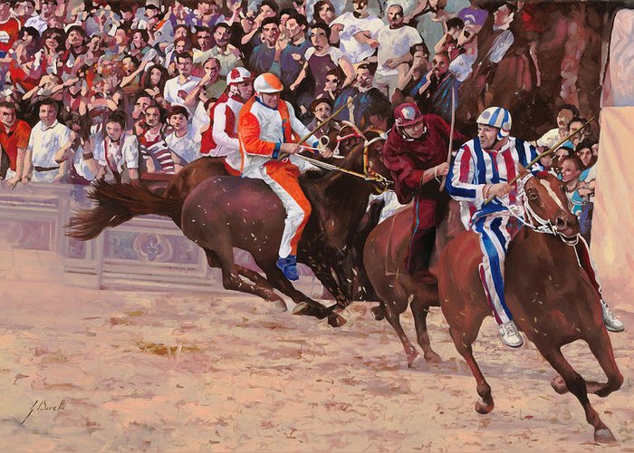 Italy Greeting Card featuring the painting La Corsa Del Palio by Guido Borelli