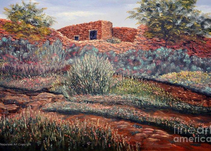 La Cueva New Mexico Greeting Card featuring the painting La Cueva New Mexico by Barney Napolske