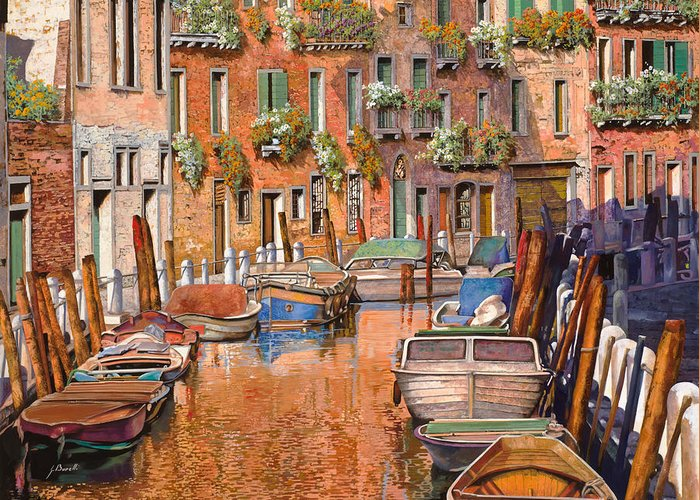Venice Greeting Card featuring the painting La Curva Sul Canale by Guido Borelli