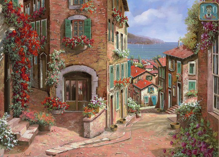 Seascape Greeting Card featuring the painting La Discesa Al Mare by Guido Borelli