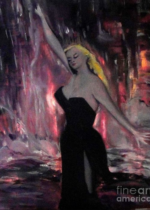 Anita Ekberg Greeting Card featuring the painting La Dolce Vita The Sweet Life by Helena Bebirian
