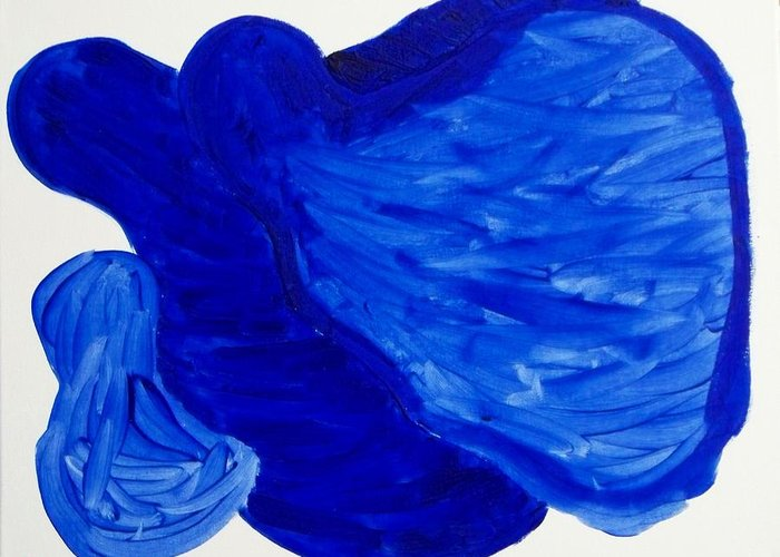 Abstract Greeting Card featuring the painting La Famille Bleue by Rod Schneider