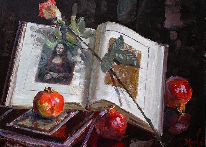 La Gioconda Greeting Card featuring the painting La Gioconda by Ylli Haruni
