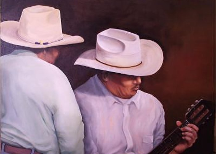 Two Mexican Men Greeting Card featuring the painting La Guitarrista 30x40 In. by Irene Corey
