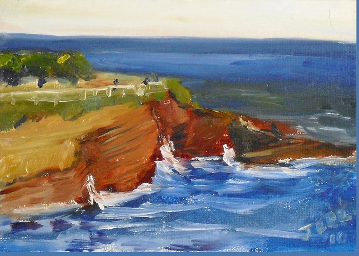 100 Paintings Greeting Card featuring the painting La Jolla Cove 017 by Jeremy McKay