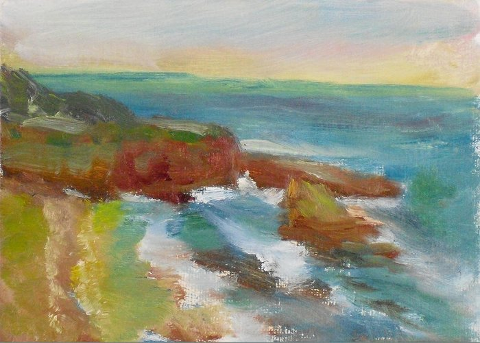 100 Paintings Greeting Card featuring the painting La Jolla Cove 019 by Jeremy McKay