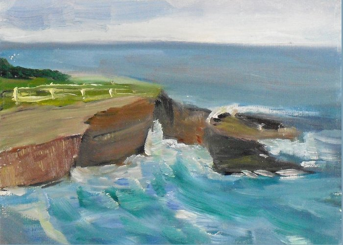 100 Paintings Greeting Card featuring the painting La Jolla Cove 020 by Jeremy McKay