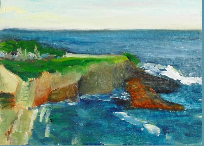 100 Paintings Greeting Card featuring the painting La Jolla Cove 021 by Jeremy McKay