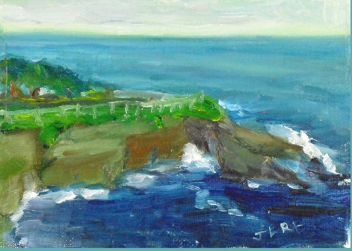 100 Paintings Greeting Card featuring the painting La Jolla Cove 024 by Jeremy McKay