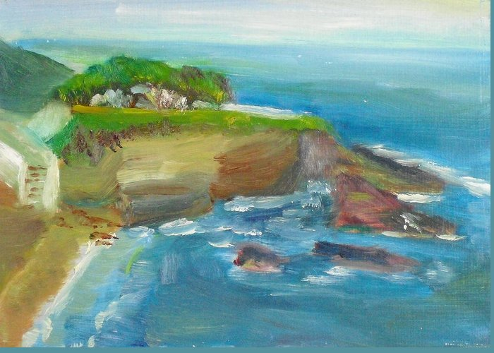 100 Paintings Greeting Card featuring the painting La Jolla Cove 025 by Jeremy McKay