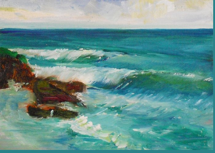 100 Paintings Greeting Card featuring the painting La Jolla Cove 027 by Jeremy McKay
