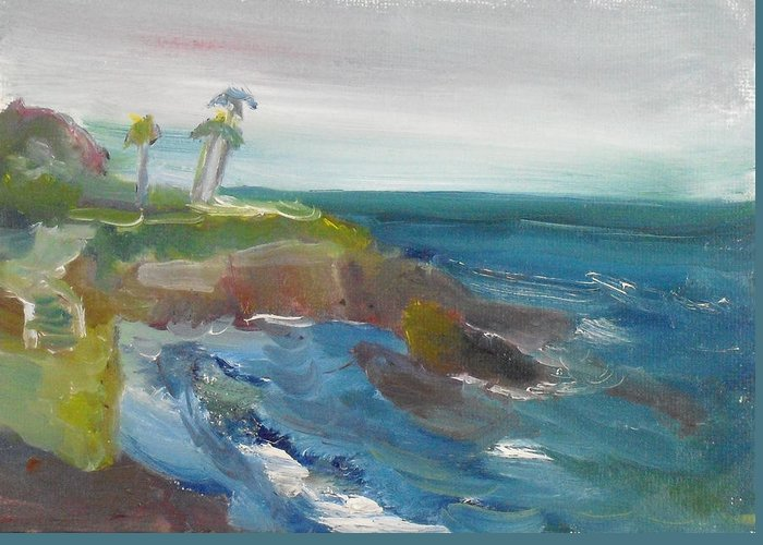 100 Paintings Greeting Card featuring the painting La Jolla Cove 028 by Jeremy McKay