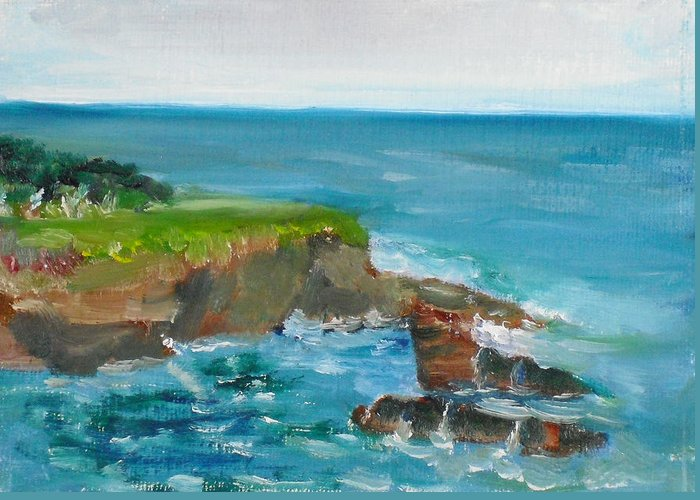 100 Paintings Greeting Card featuring the painting La Jolla Cove 030 by Jeremy McKay