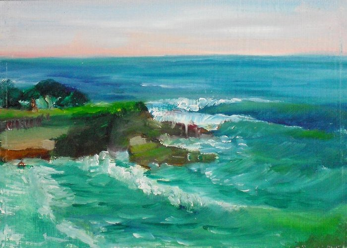 100 Paintings Greeting Card featuring the painting La Jolla Cove 032 by Jeremy McKay