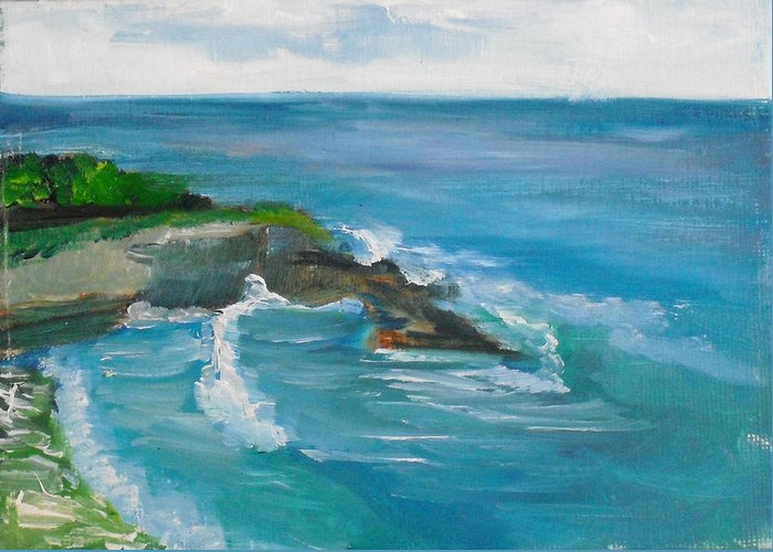 100 Paintings Greeting Card featuring the painting La Jolla Cove 033 by Jeremy McKay