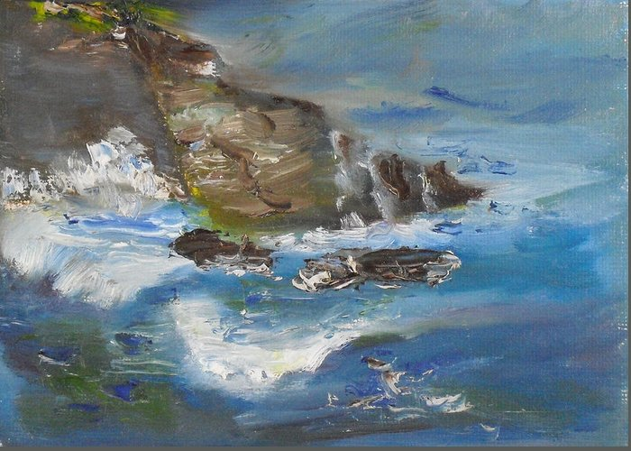 100 Paintings Greeting Card featuring the painting La Jolla Cove 034 by Jeremy McKay