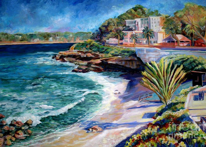 Seascape Greeting Card featuring the painting La Jolla Cove by Nancy Isbell